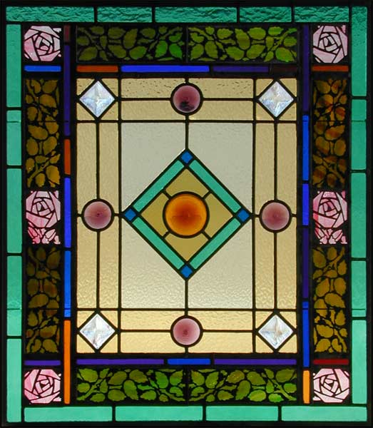 Vintage Victorian Stained Glass Window AE425