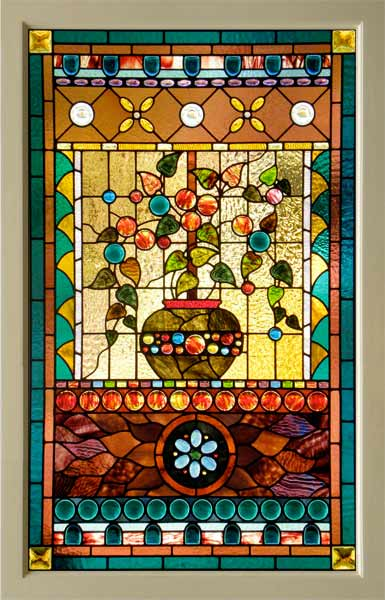 Victorian American Stained Glass Window With Cast Leaves