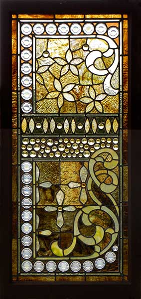 Antique American Stained Glass Window With Band Of Gold Jewels